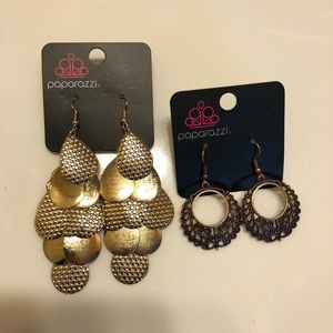 2 pair of paparazzi earrings gold and copper